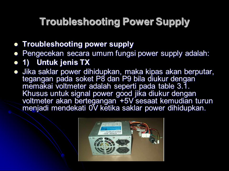 Troubleshooting Power Supply