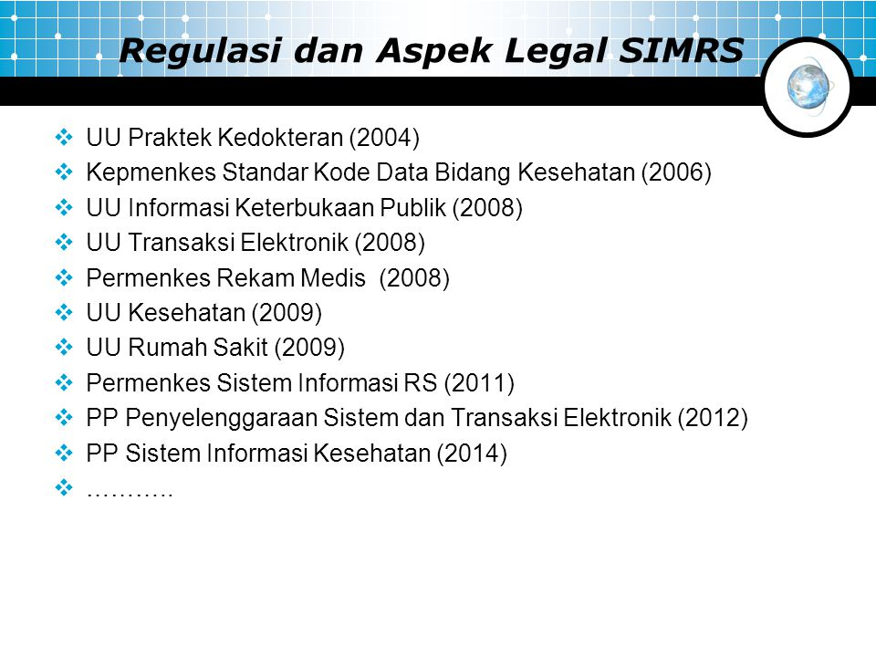 Regulasi dan Aspek Legal SIMRS