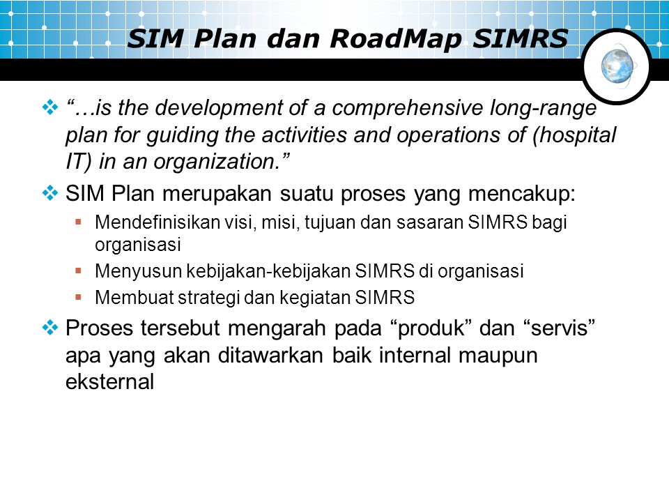 SIM Plan dan RoadMap SIMRS