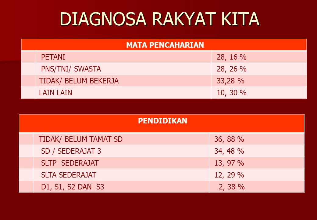 DIAGNOSA RAKYAT KITA MATA PENCAHARIAN PETANI 28, 16 % PNS/TNI/ SWASTA