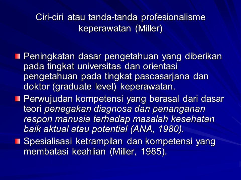 Ciri-ciri atau tanda-tanda profesionalisme keperawatan (Miller)