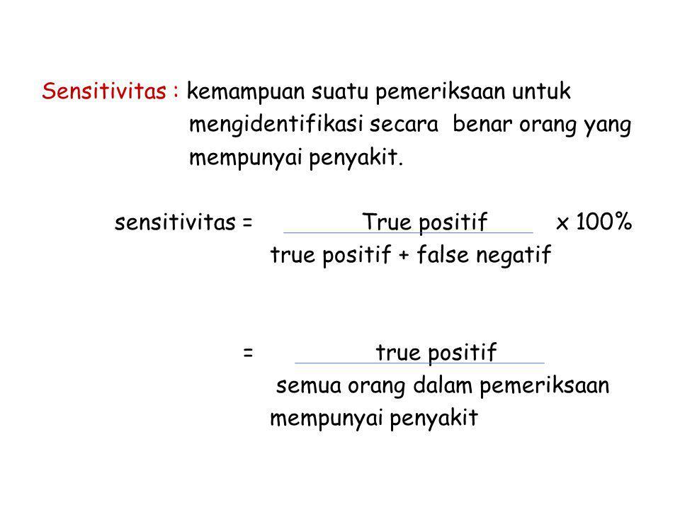 Sensitivitas : kemampuan suatu pemeriksaan untuk mengidentifikasi secara benar orang yang mempunyai penyakit.