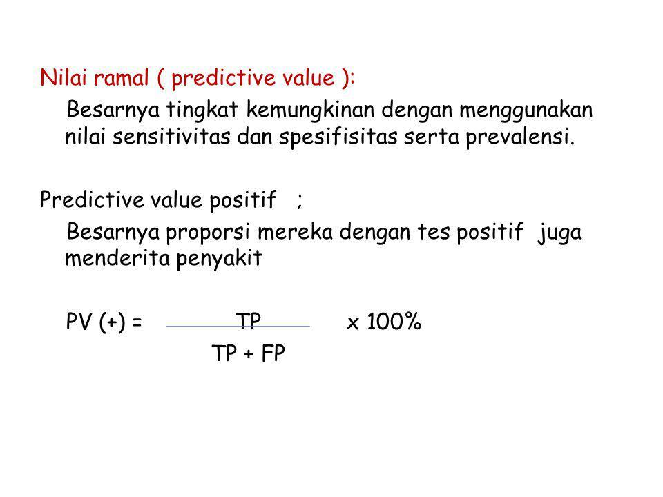 Nilai ramal ( predictive value ): Besarnya tingkat kemungkinan dengan menggunakan nilai sensitivitas dan spesifisitas serta prevalensi.