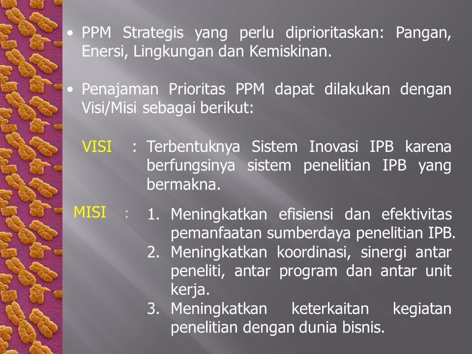 PPM Strategis yang perlu diprioritaskan: Pangan, Enersi, Lingkungan dan Kemiskinan.