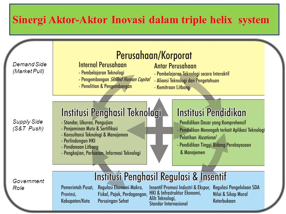 Sinergi Aktor-Aktor Inovasi dalam triple helix system