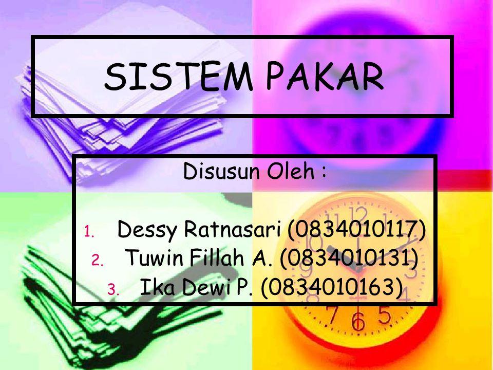 SISTEM PAKAR Disusun Oleh : Dessy Ratnasari (0834010117)