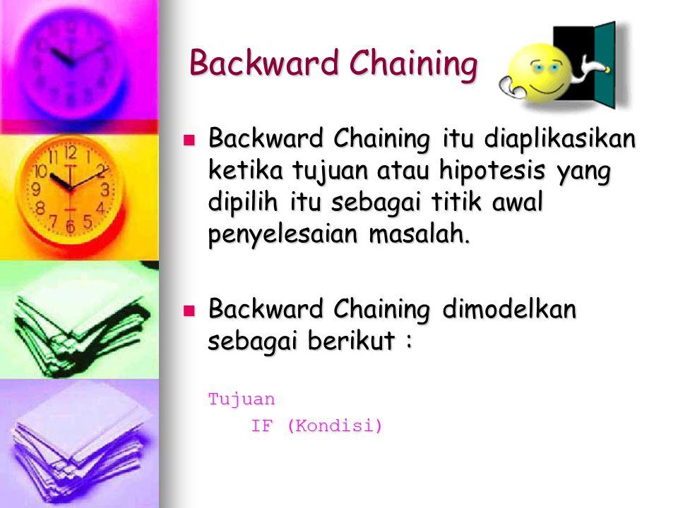 Backward Chaining Backward Chaining itu diaplikasikan ketika tujuan atau hipotesis yang dipilih itu sebagai titik awal penyelesaian masalah.