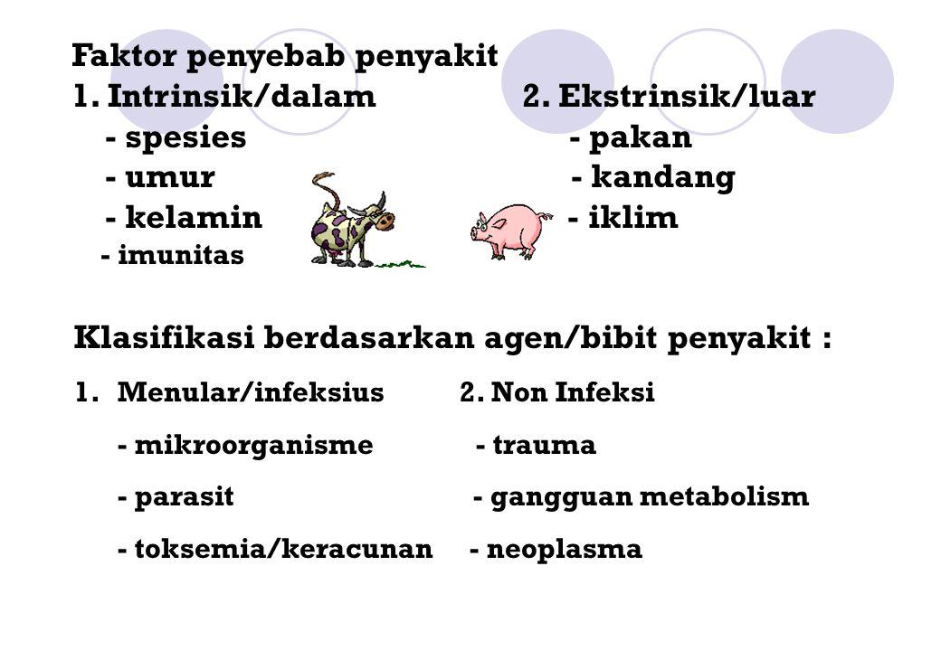 Faktor penyebab penyakit 1. Intrinsik/dalam 2. Ekstrinsik/luar