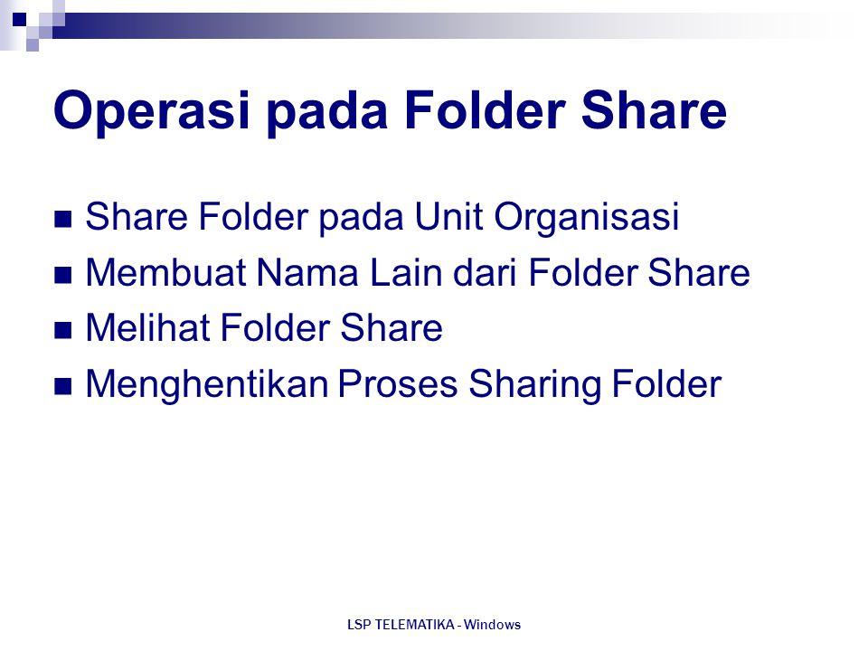 Operasi pada Folder Share
