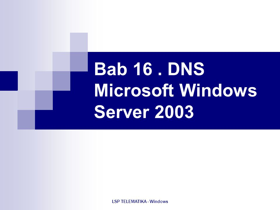 Bab 16 . DNS Microsoft Windows Server 2003