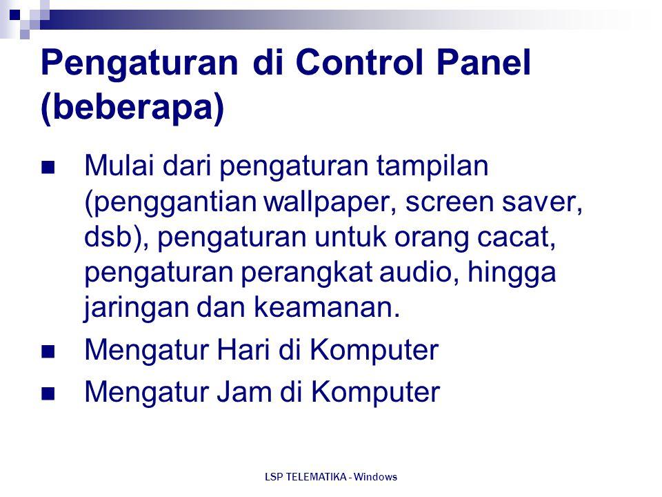 Pengaturan di Control Panel (beberapa)