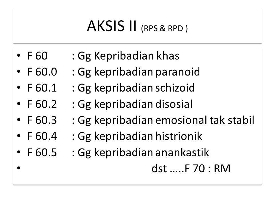 AKSIS II (RPS & RPD ) F 60 : Gg Kepribadian khas