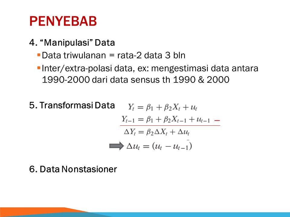 penyebab 4. Manipulasi Data Data triwulanan = rata-2 data 3 bln