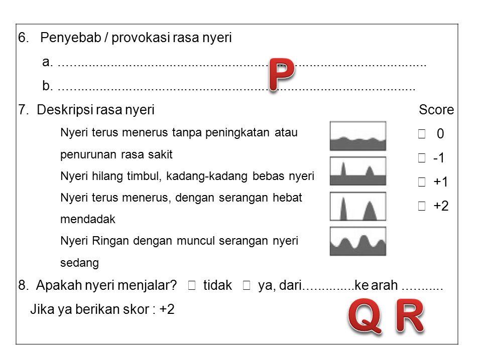 P Q R 6. Penyebab / provokasi rasa nyeri