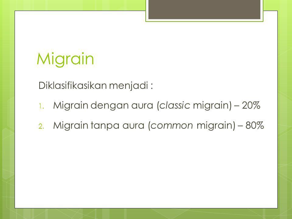 Migrain Diklasifikasikan menjadi :