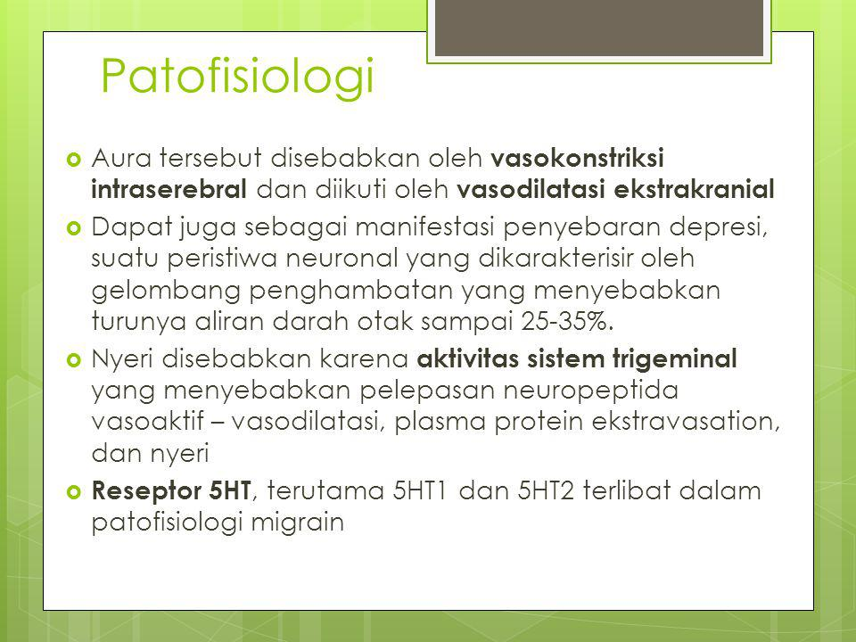 Patofisiologi Aura tersebut disebabkan oleh vasokonstriksi intraserebral dan diikuti oleh vasodilatasi ekstrakranial.