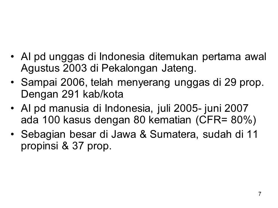AI pd unggas di Indonesia ditemukan pertama awal Agustus 2003 di Pekalongan Jateng.