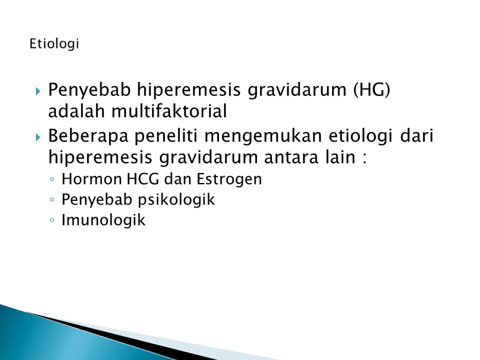 Penyebab hiperemesis gravidarum (HG) adalah multifaktorial