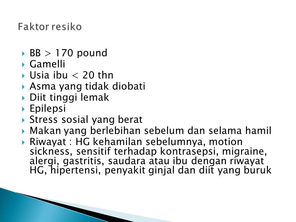 Faktor resiko BB > 170 pound. Gamelli. Usia ibu < 20 thn. Asma yang tidak diobati. Diit tinggi lemak.