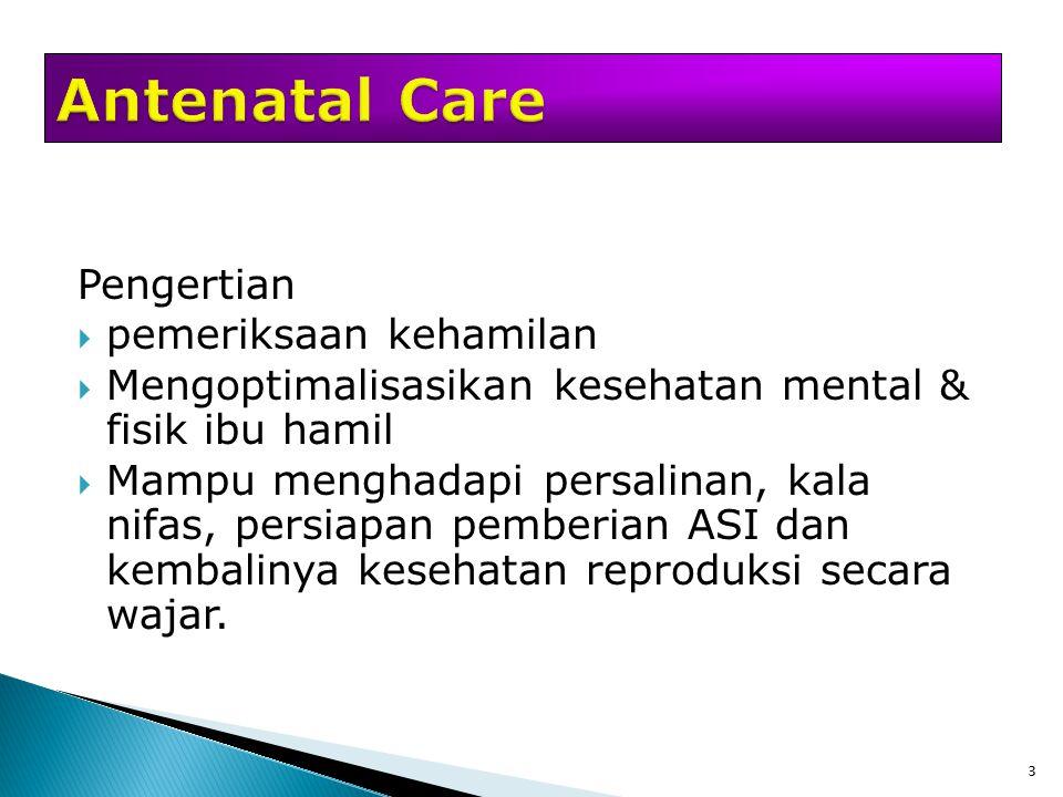 Antenatal Care Pengertian pemeriksaan kehamilan