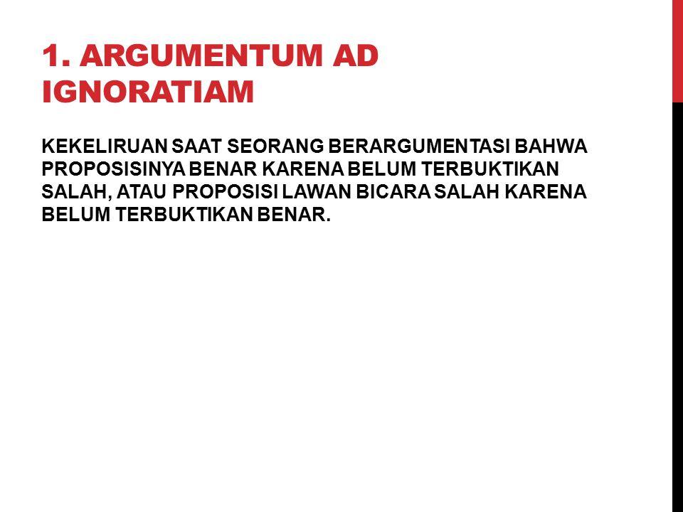 1. Argumentum ad Ignoratiam