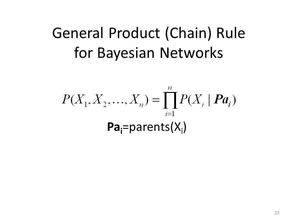 General Product (Chain) Rule for Bayesian Networks