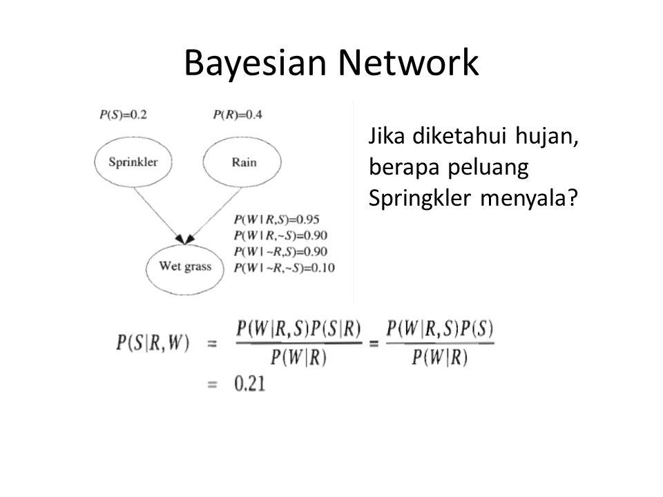 Bayesian Network Jika diketahui hujan, berapa peluang Springkler menyala
