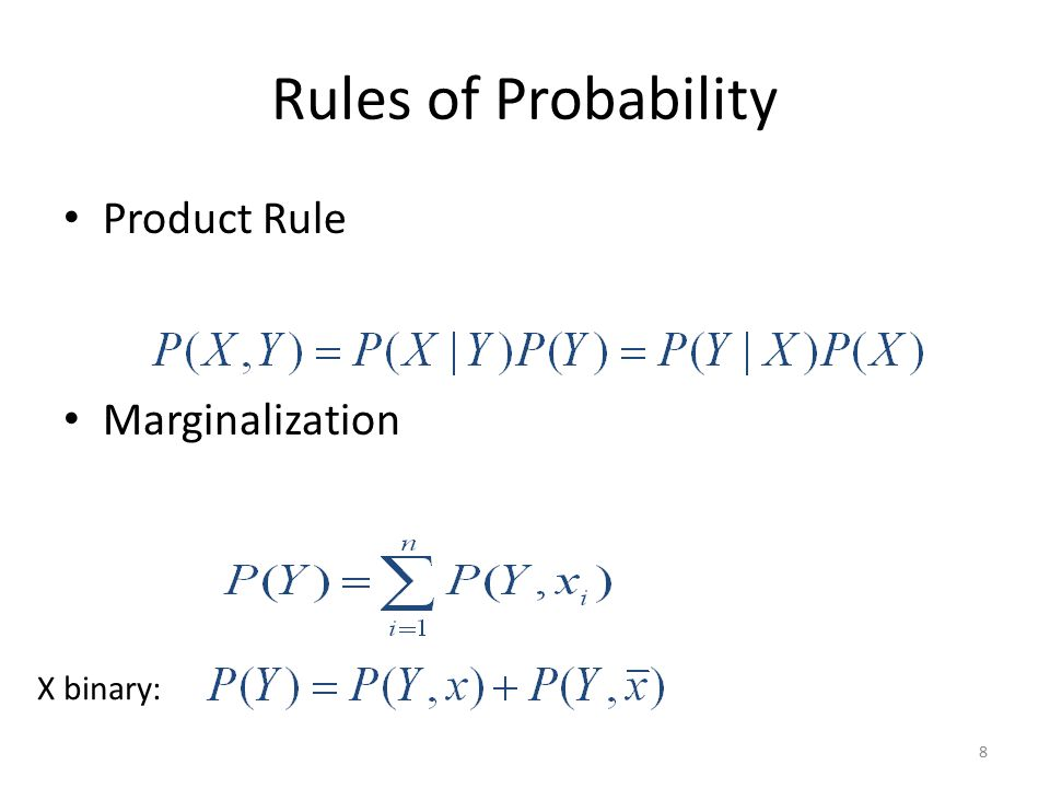 Rules of Probability Product Rule Marginalization X binary:
