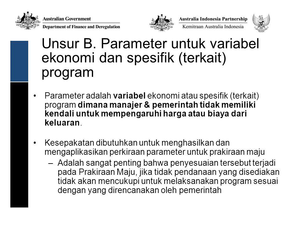 Unsur B. Parameter untuk variabel ekonomi dan spesifik (terkait) program