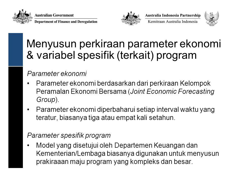 Menyusun perkiraan parameter ekonomi & variabel spesifik (terkait) program