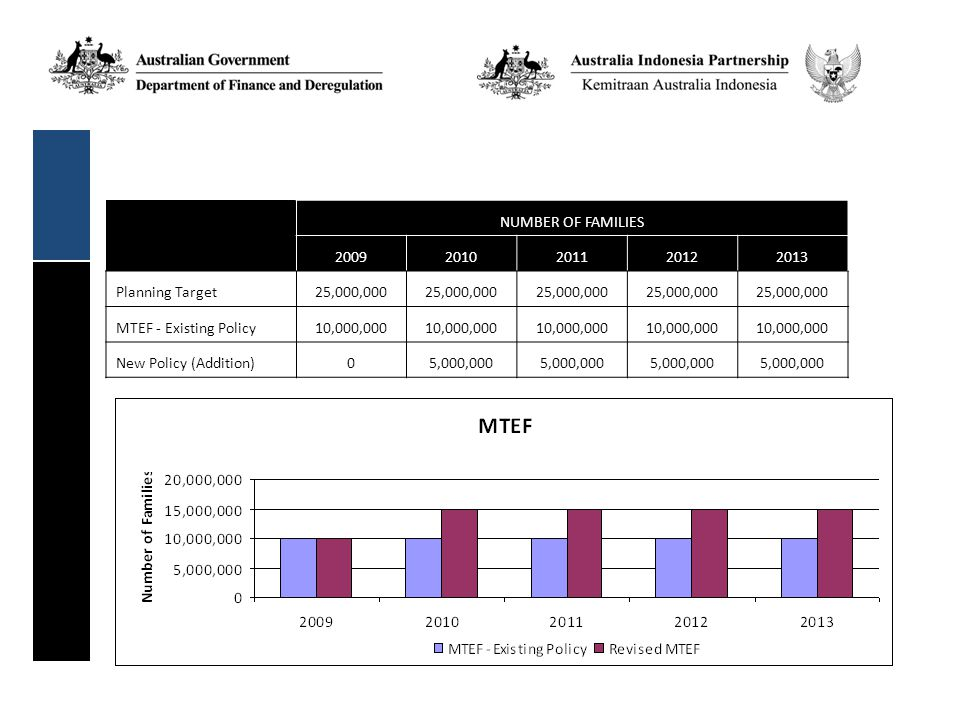 NUMBER OF FAMILIES. 2009. 2010. 2011. 2012. 2013. Planning Target. 25,000,000. MTEF - Existing Policy.