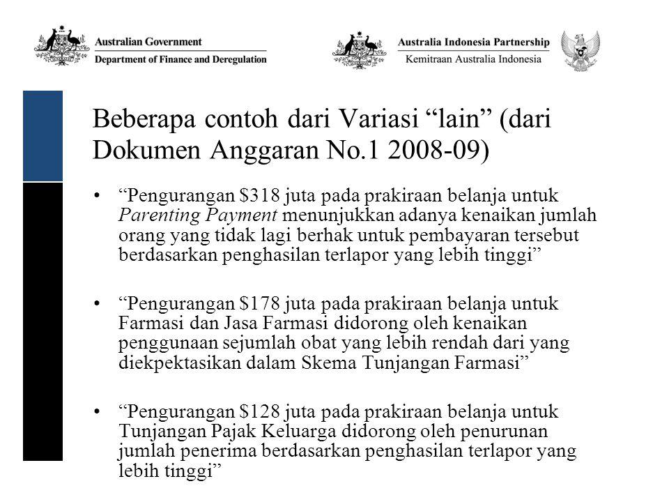 Beberapa contoh dari Variasi lain (dari Dokumen Anggaran No