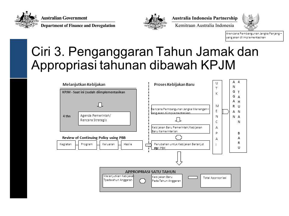 Ciri 3. Penganggaran Tahun Jamak dan Appropriasi tahunan dibawah KPJM