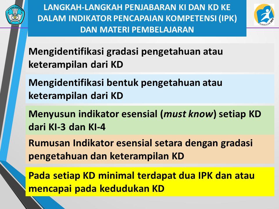 Mengidentifikasi gradasi pengetahuan atau keterampilan dari KD