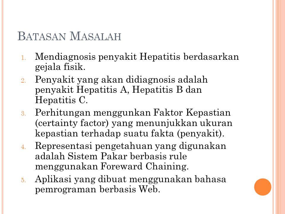 Batasan Masalah Mendiagnosis penyakit Hepatitis berdasarkan gejala fisik.