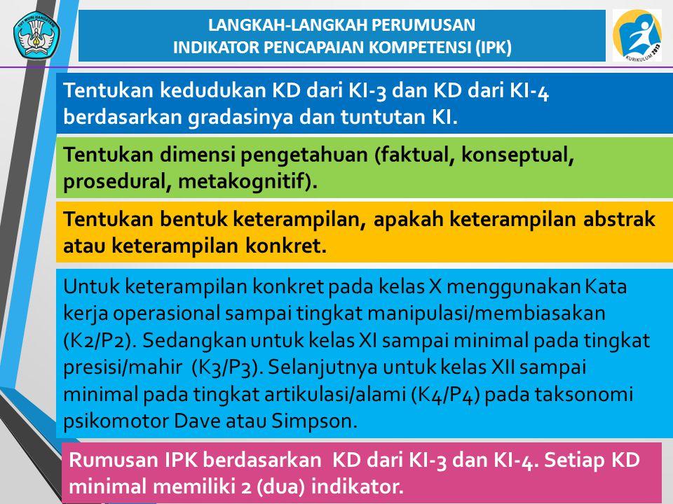 LANGKAH-LANGKAH PERUMUSAN INDIKATOR PENCAPAIAN KOMPETENSI (IPK)
