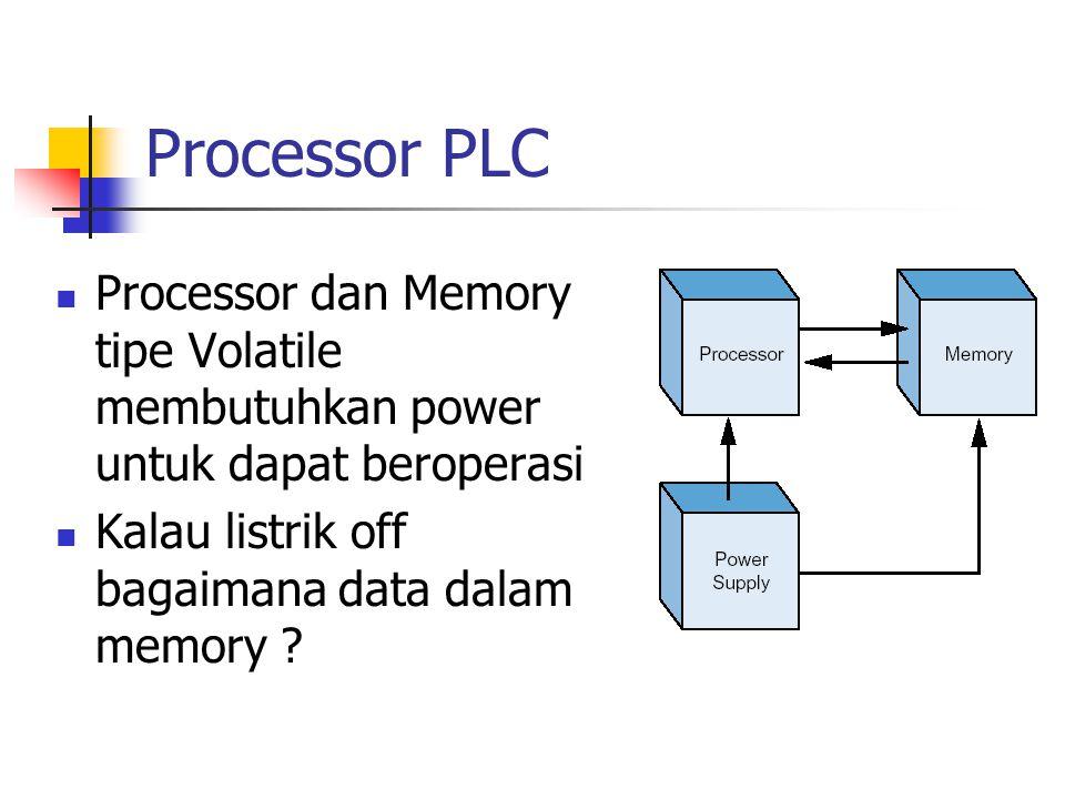 Processor PLC Processor dan Memory tipe Volatile membutuhkan power untuk dapat beroperasi.