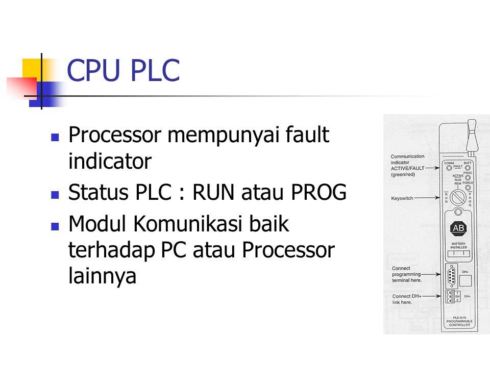 CPU PLC Processor mempunyai fault indicator Status PLC : RUN atau PROG