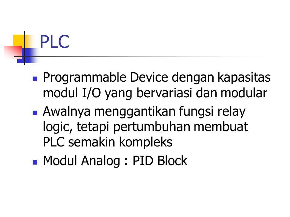PLC Programmable Device dengan kapasitas modul I/O yang bervariasi dan modular.