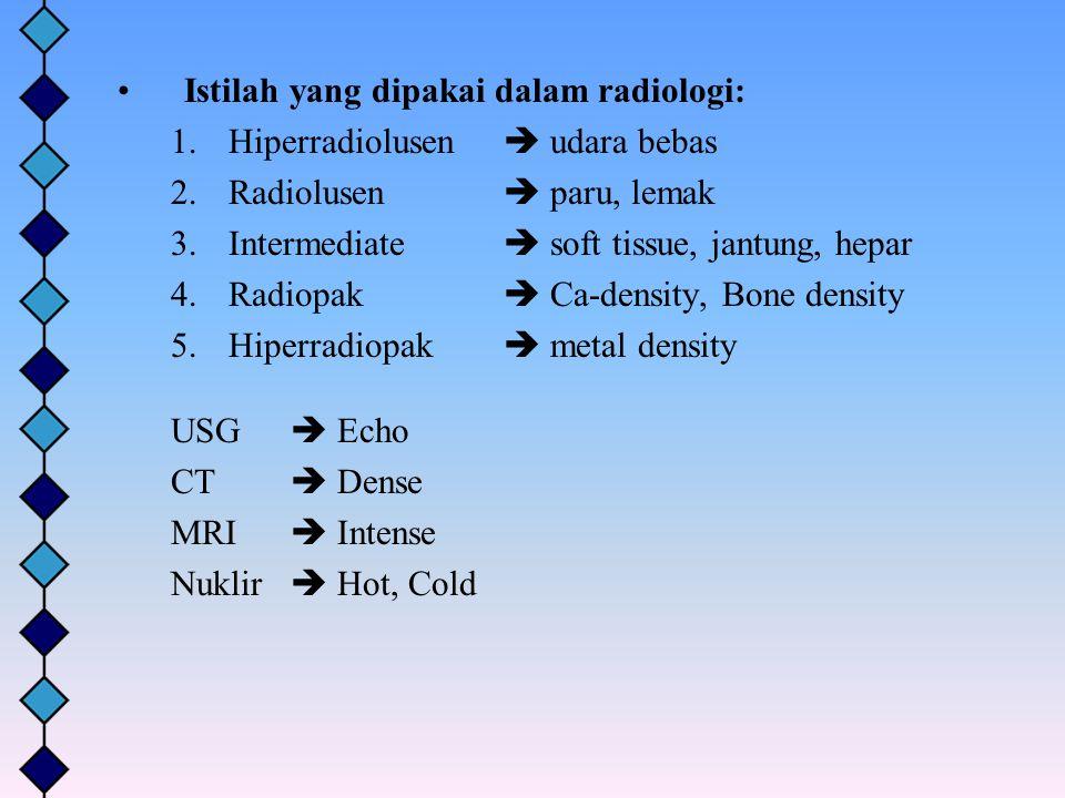 Istilah yang dipakai dalam radiologi: