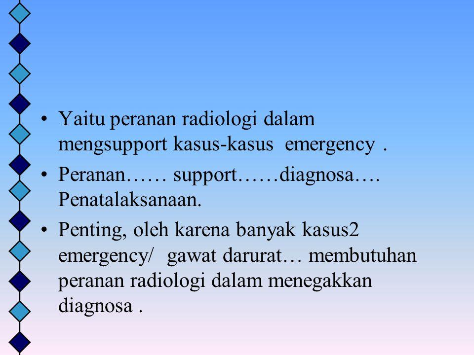 Yaitu peranan radiologi dalam mengsupport kasus-kasus emergency .