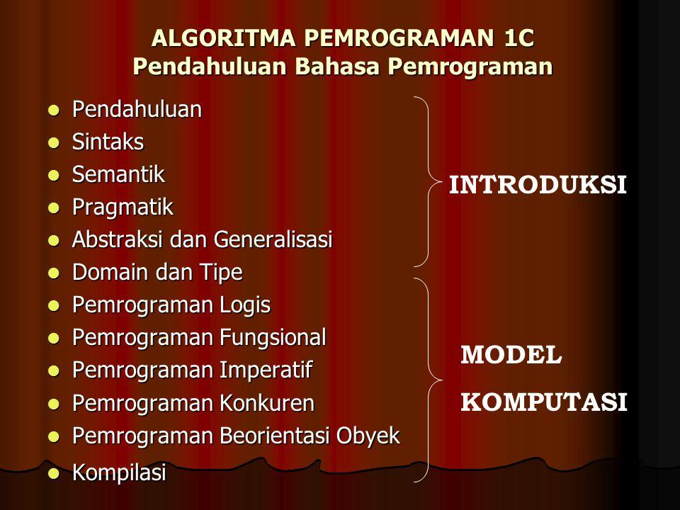 ALGORITMA PEMROGRAMAN 1C Pendahuluan Bahasa Pemrograman
