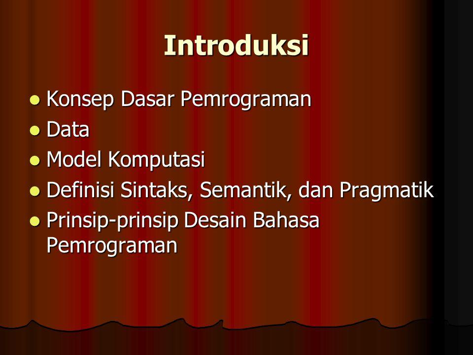 Introduksi Konsep Dasar Pemrograman Data Model Komputasi