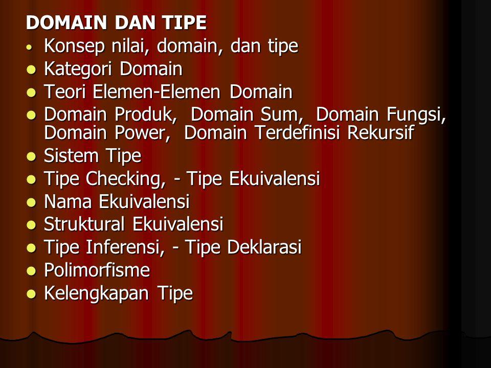 DOMAIN DAN TIPE Konsep nilai, domain, dan tipe. Kategori Domain. Teori Elemen-Elemen Domain.