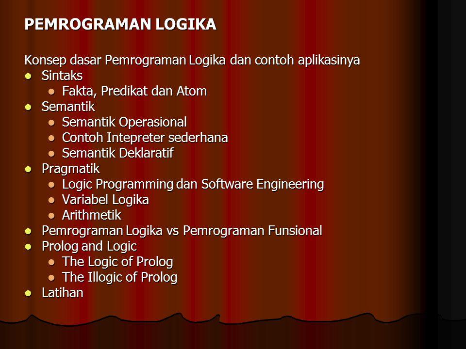 PEMROGRAMAN LOGIKA Konsep dasar Pemrograman Logika dan contoh aplikasinya. Sintaks. Fakta, Predikat dan Atom.
