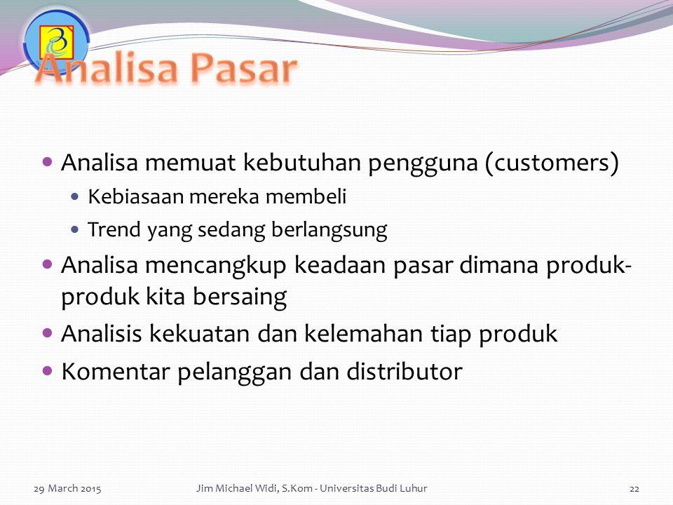 Analisa Pasar Analisa memuat kebutuhan pengguna (customers)