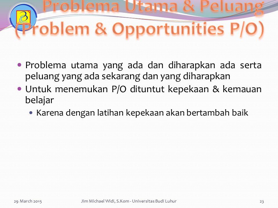 Problema Utama & Peluang (Problem & Opportunities P/O)
