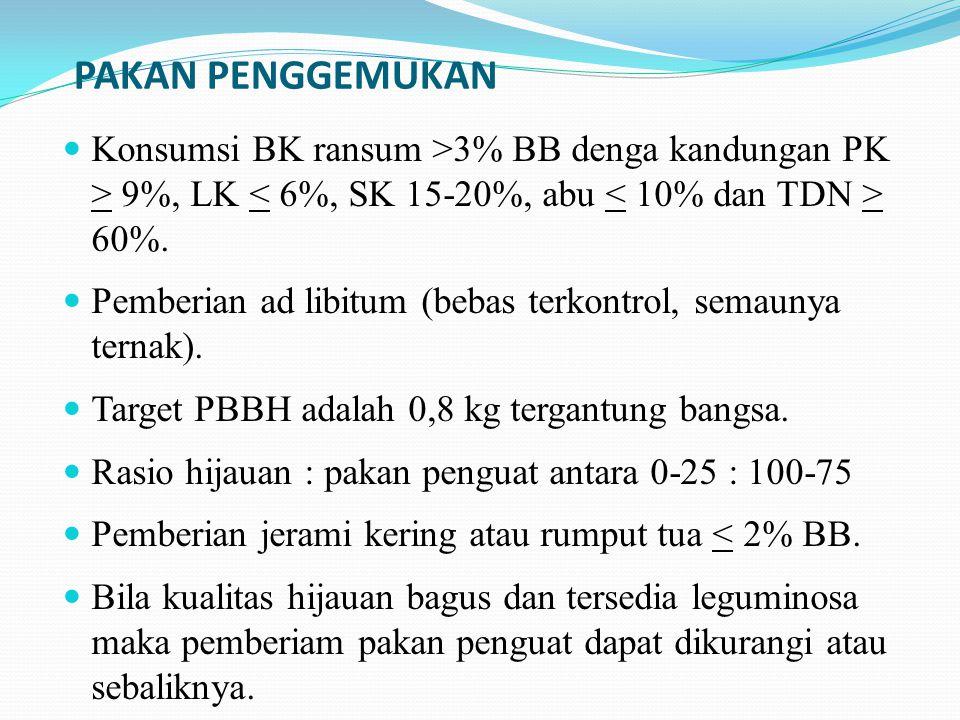 PAKAN PENGGEMUKAN Konsumsi BK ransum >3% BB denga kandungan PK > 9%, LK < 6%, SK 15-20%, abu < 10% dan TDN > 60%.