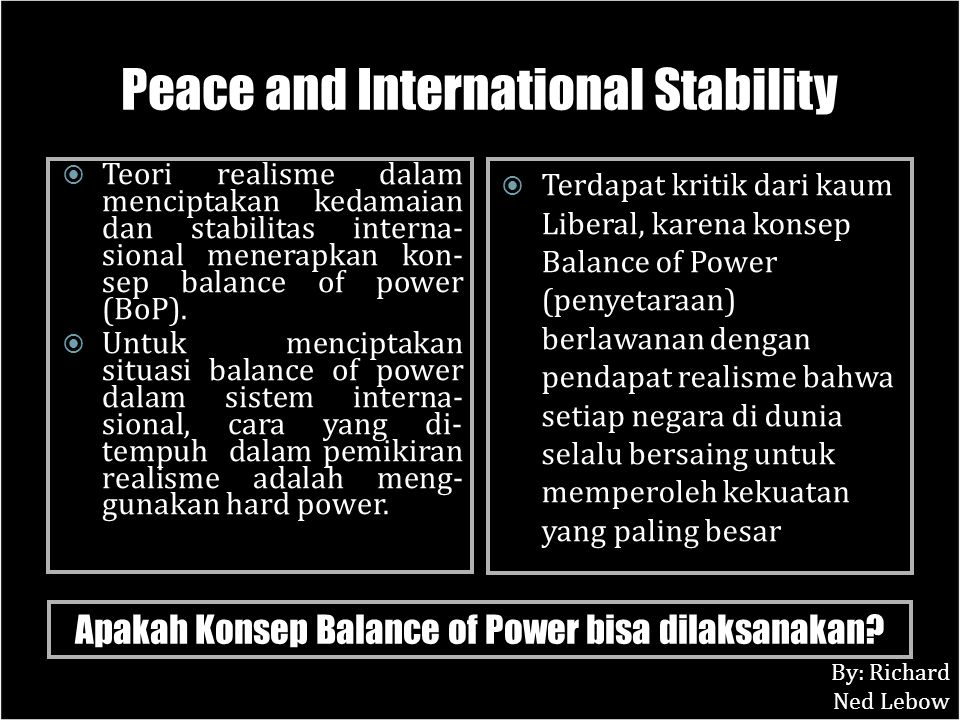 Peace and International Stability