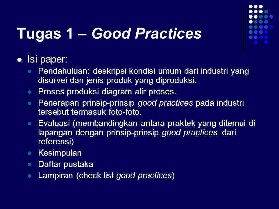Tugas 1 – Good Practices Isi paper:
